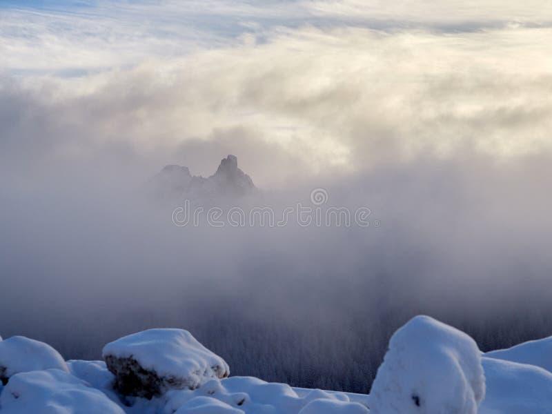 Övervintra landskapet med träd och berg som täckas med snö och, fördunkla royaltyfria foton