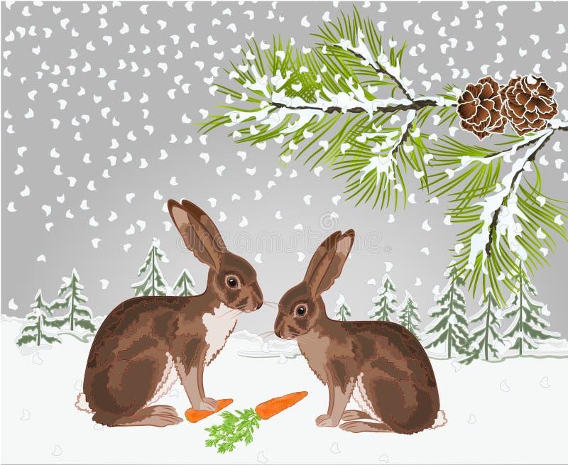 Övervintra landskapskogen med snö med en filial av ett träd och en illustration för vektor för tappning för naturlig bakgrund för vektor illustrationer