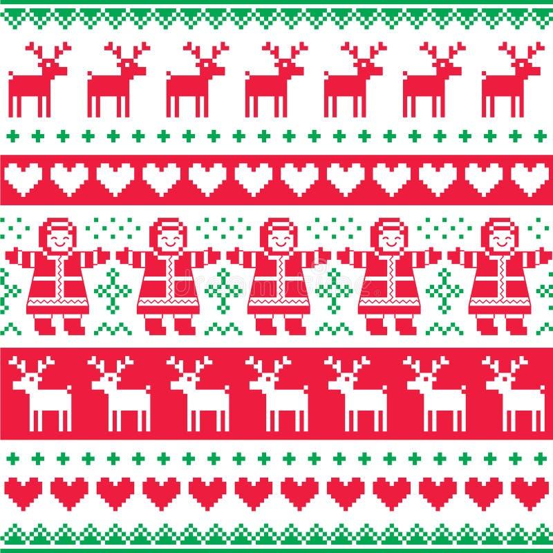 Övervintra, röd jul och den gröna sömlösa modellen eller trycket stock illustrationer