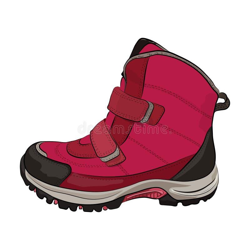 Övervintra rosa kvinna` s och skor för barn` s på en vit bakgrund vektor vektor illustrationer