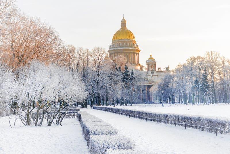 Övervintra sikten av domkyrkan för ` s för St Isaac i St Petersburg Ryssland arkivbilder