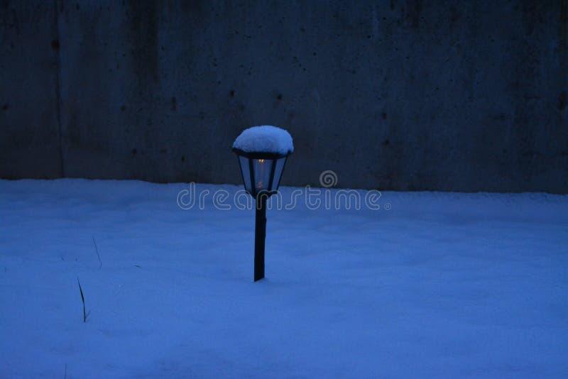Övervintra sikten från en trädgård i snön royaltyfri bild