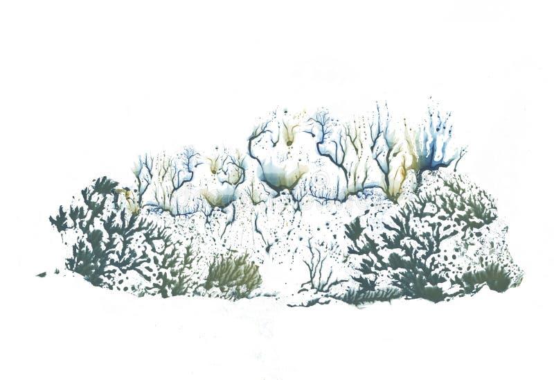 Övervintra skogen i olika säsonger, abstraktionteckningsmålarfärg stock illustrationer