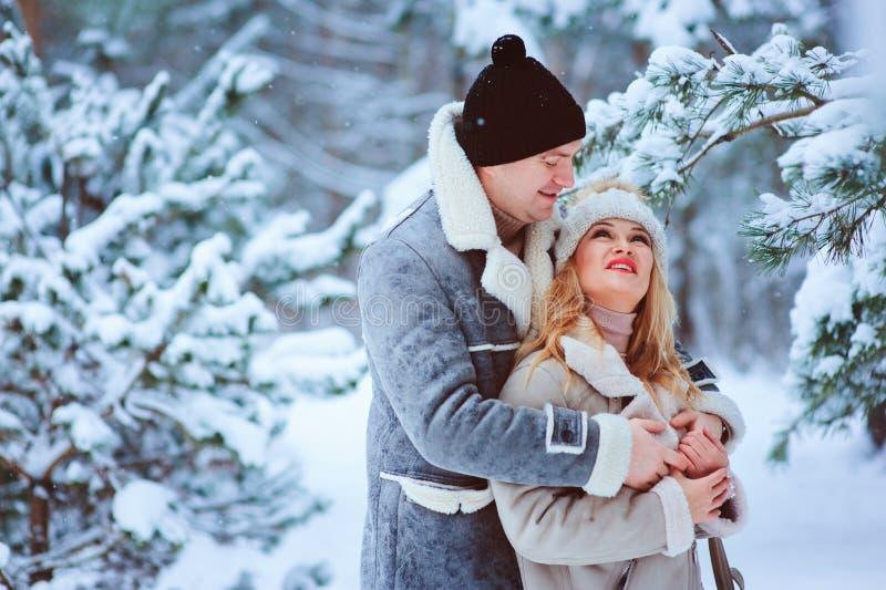 övervintra ståenden av lyckligt romantiskt tycka om för par som är deras, går i snöig skog eller parkerar royaltyfria foton