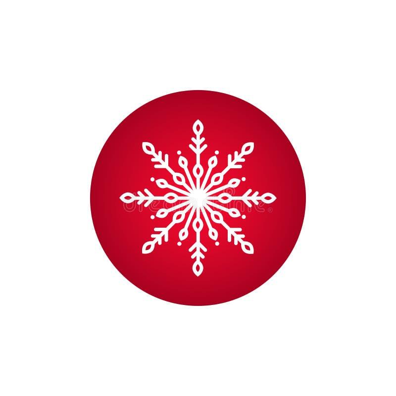 Övervintra symbolen med den plana vita snöflingan i röd cirkel Pictogram för nytt år vektor illustrationer