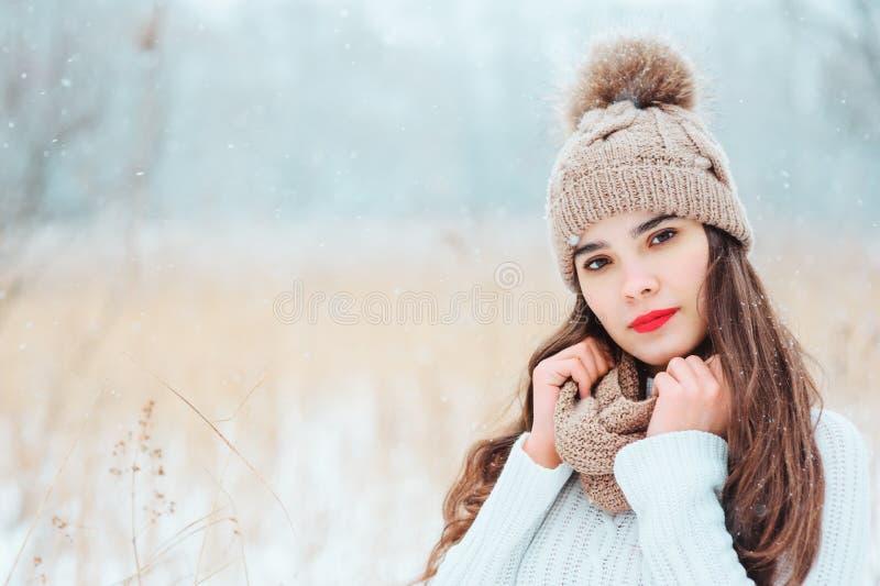 övervintra tätt upp ståenden av den härliga le unga kvinnan i stucken hatt och tröja som går utomhus- under-snöfall royaltyfria foton