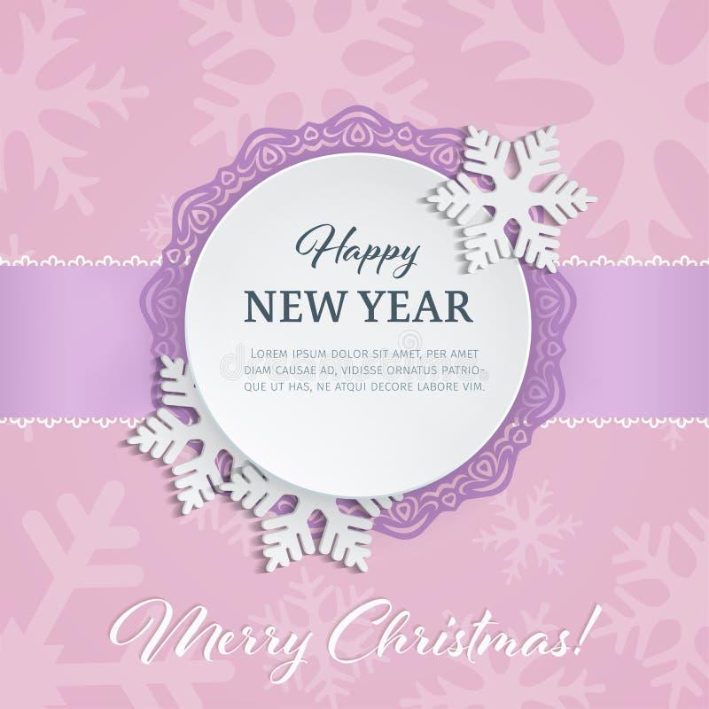 Övervintrar etiketten för den pappers- rundan för utklipp med den dekorativa ramen och snöflingor 3d på de mjuka rosa färgerna ba stock illustrationer