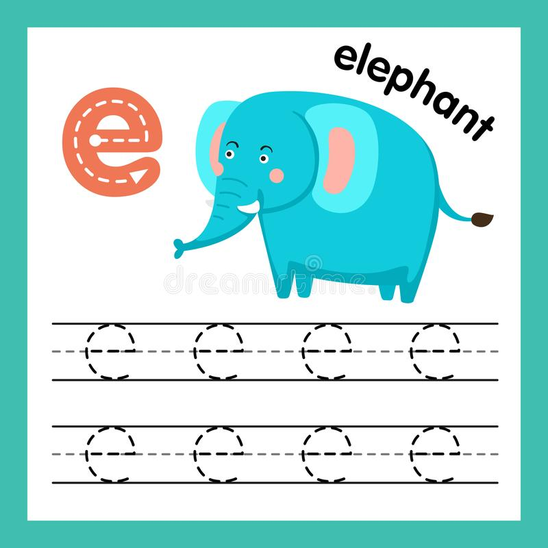 Övning för alfabet E med tecknad filmordlista stock illustrationer
