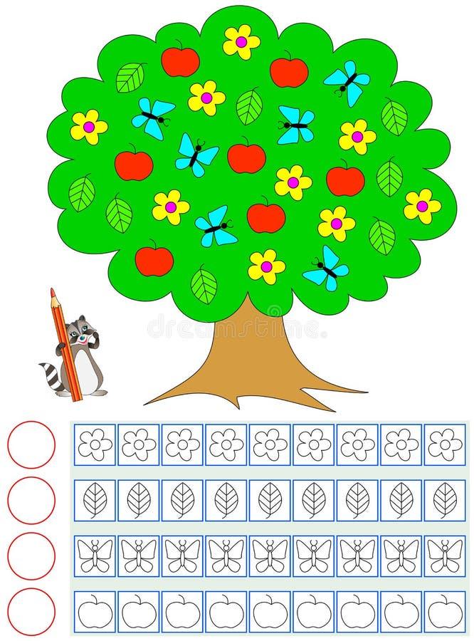 Övning för barn Räkna av objekt i trädet, måla det motsvarande numret av dem och skriv antalet stock illustrationer