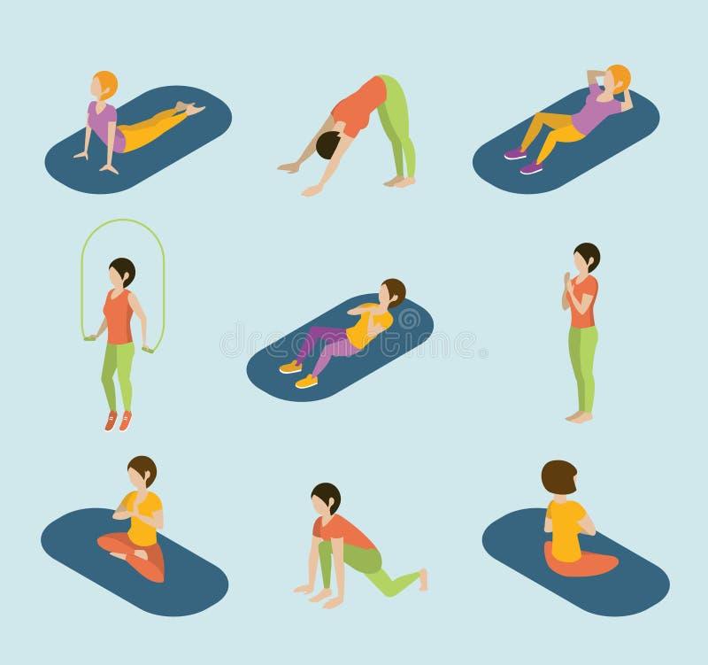 Övning för genomkörare för gymnastik för idrottshall för sportkvinnayoga royaltyfri illustrationer