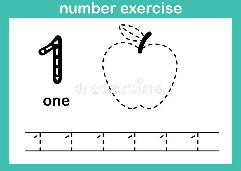 Övning för nummer ett stock illustrationer