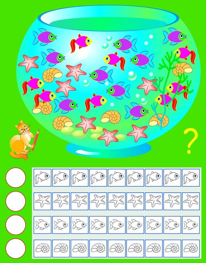 Övning för unga barn Behöv räkna akvariuminvånarna, måla det motsvarande numret av dem och skriv deras antal stock illustrationer