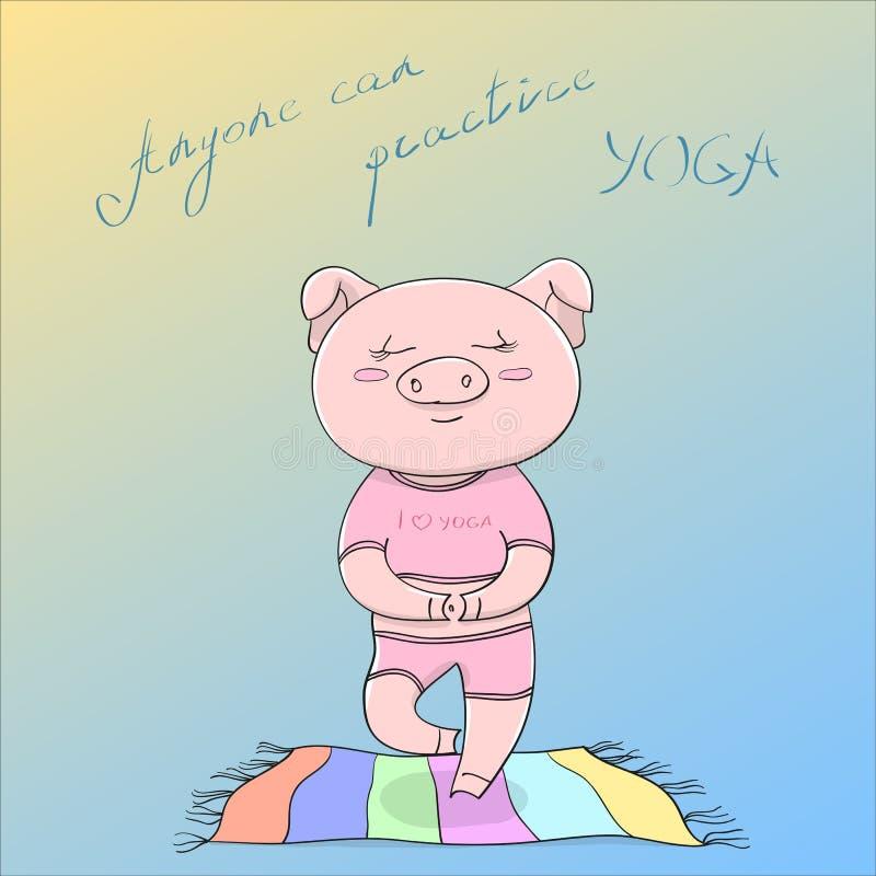 Övning för yoga för illustration för vektor eps10 gullig lycklig piggy görande på det kulöra golvet som är mattt och motiverar ti vektor illustrationer