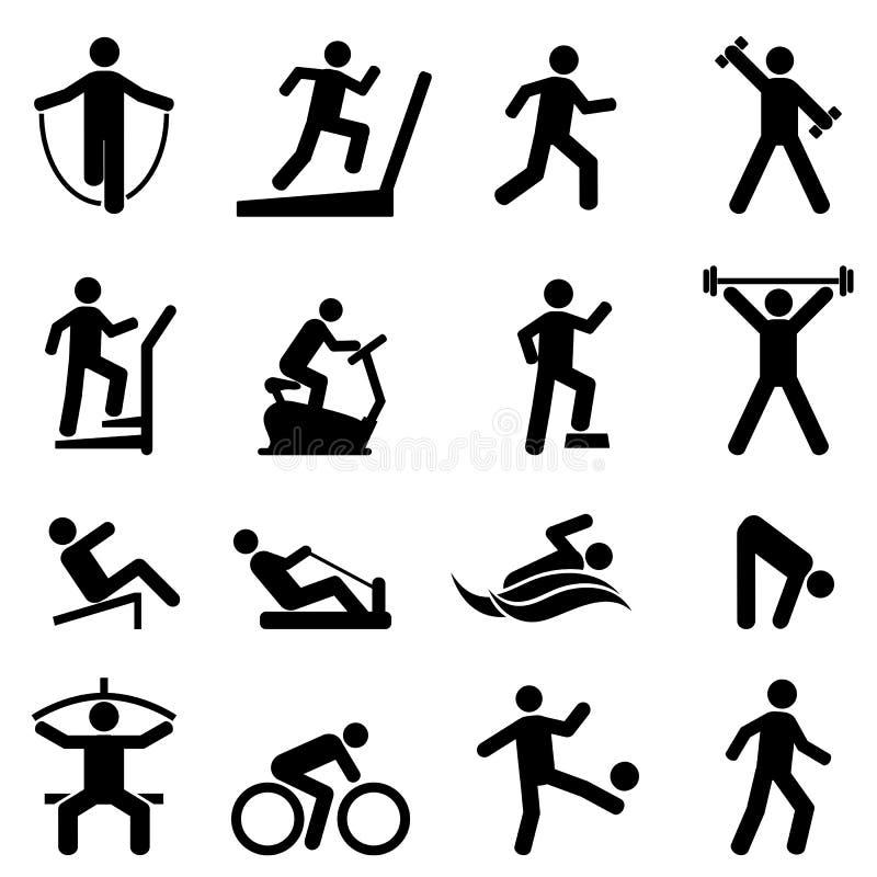 Övning kondition, idrottshallsymbolsuppsättning royaltyfri illustrationer