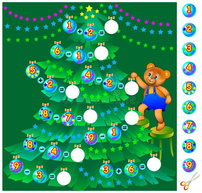 Övningar för barn - hjälpnallebjörnen dekorerar julgranen stock illustrationer