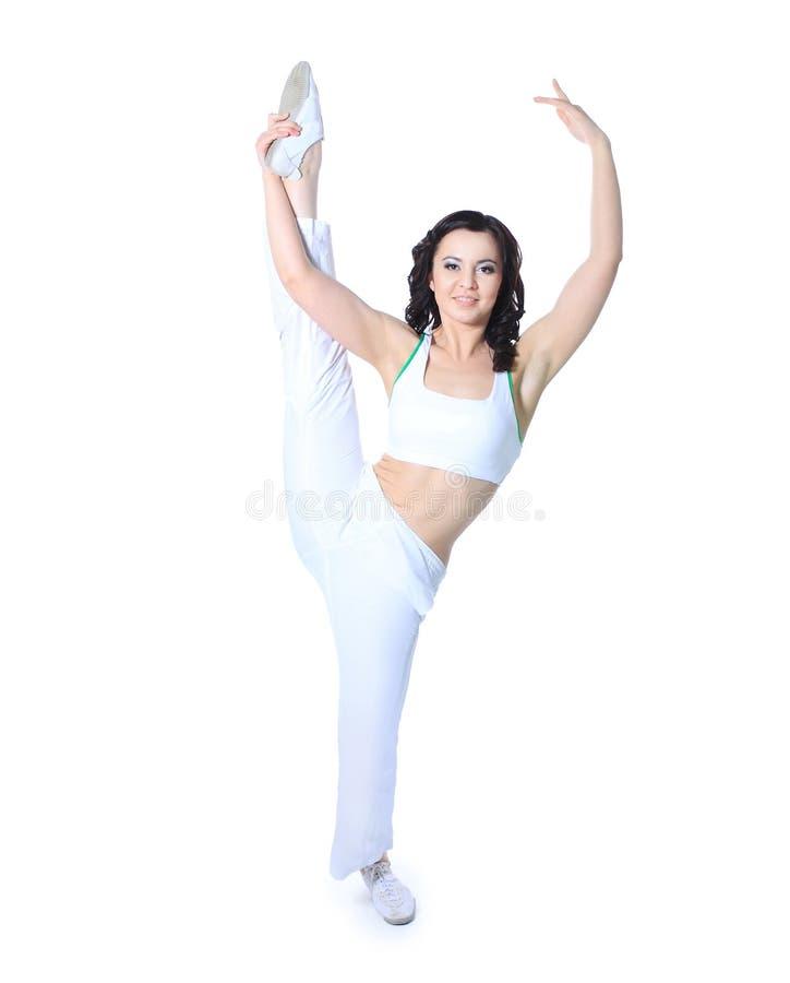 Övningar för konditioninstruktörshower bakgrund isolerad white royaltyfria foton