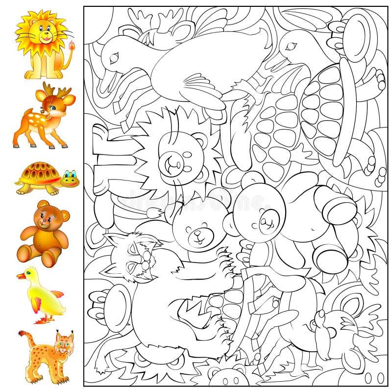 Övningar för unga barn - behov att finna och måla djuren stock illustrationer