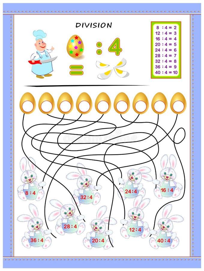 Övningar för ungar med uppdelningstabellen vid nummer 4 Lös exempel och skriv svar på ägg stock illustrationer