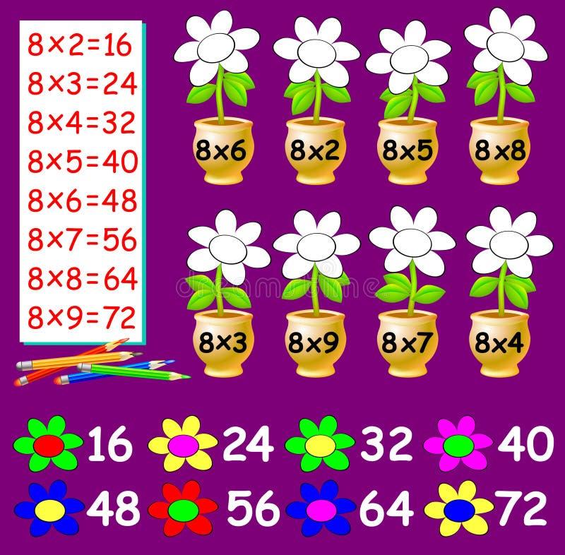 Övningen för barn med multiplikation vid åtta - behöv måla blommorna i relevant färg stock illustrationer