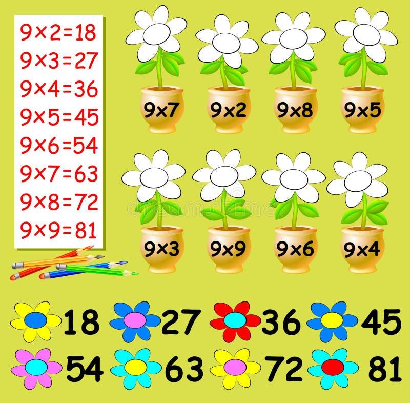 Övningen för barn med multiplikation vid nio - behöv måla blommorna i relevant färg stock illustrationer