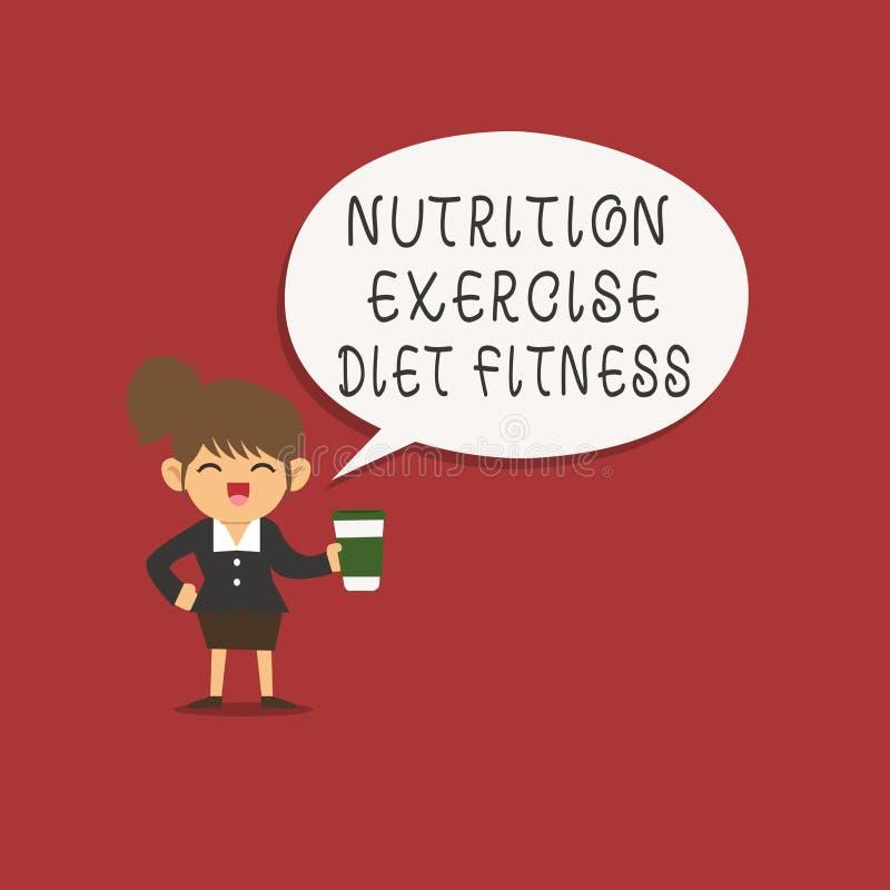 Övningen för näring för ordhandstiltext bantar kondition Affärsidé för sund analysisagement för livsstilviktförlust royaltyfri illustrationer