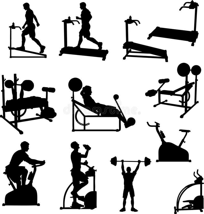 övningsmanligsilhouettes stock illustrationer