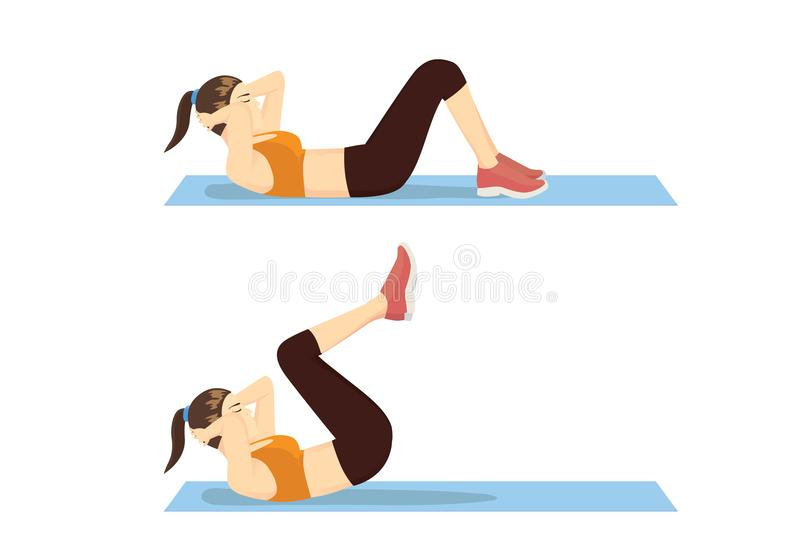 Övningsmoment med omvänd knastrande av den sunda kvinnan vektor illustrationer