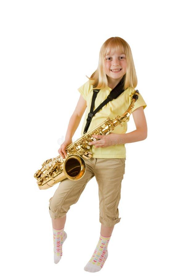 övningssaxofon royaltyfri bild