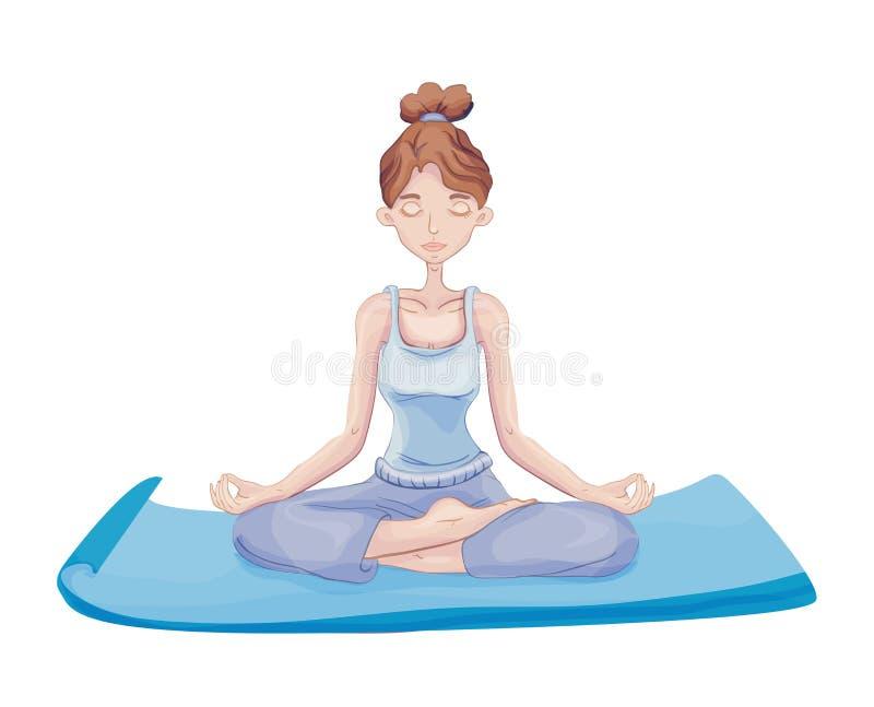Övningsyoga för ung kvinna som sitter i den Lotus positionen på det mattt meditation Aktiva livsstil- och sportaktiviteter stock illustrationer
