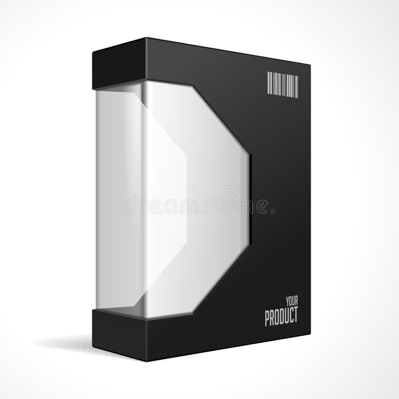 Övre ask för modern svart åtlöje för programvarupacke med rundade hörn Med DVD eller CD skivan för din produkt stock illustrationer