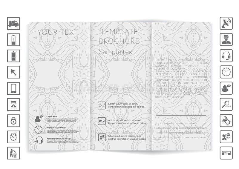 Övre design för trifold broschyråtlöje arkivbild