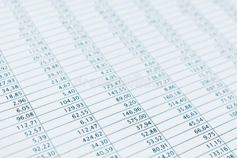 Övre för finansiellt tryck för rapport för affärsdata nära. Tonade blått. arkivfoton