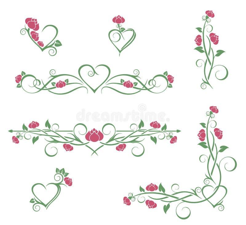 övre för täta blommor för skönhet naturligt rosa rose vektor illustrationer