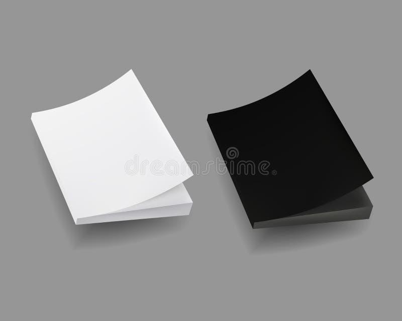 Övre räkning för tom åtlöje av anteckningsboken, tidskrift, bok, häfte, broschyr Isolerat anmärka Mall som är klar för din design vektor illustrationer