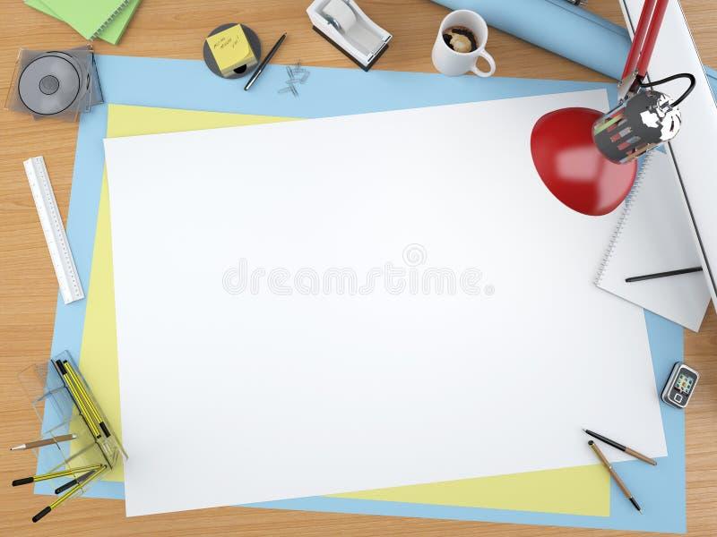 övre sikt för märkes- skrivbord vektor illustrationer
