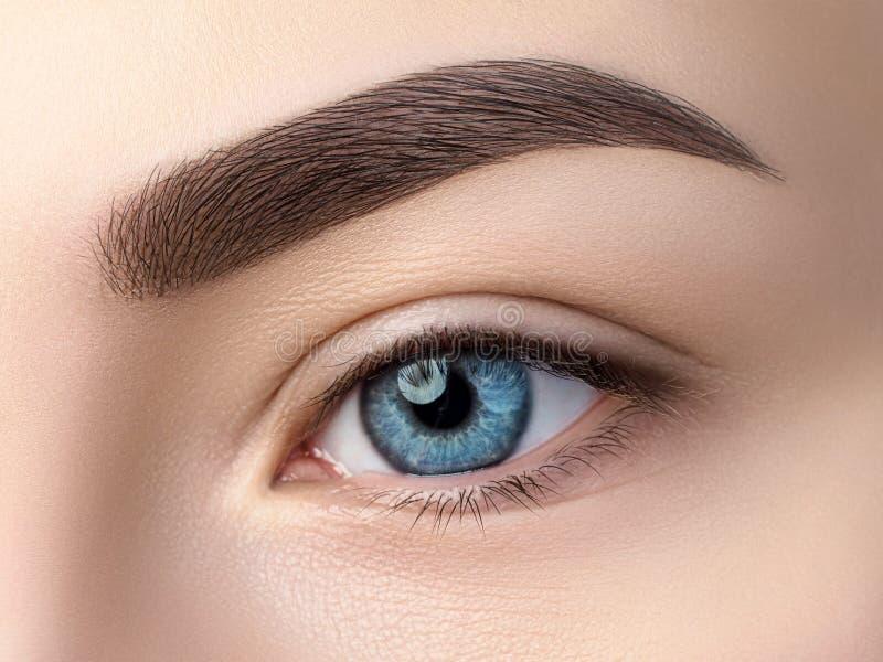 Övre sikt för slut av det härliga blåa kvinnliga ögat fotografering för bildbyråer