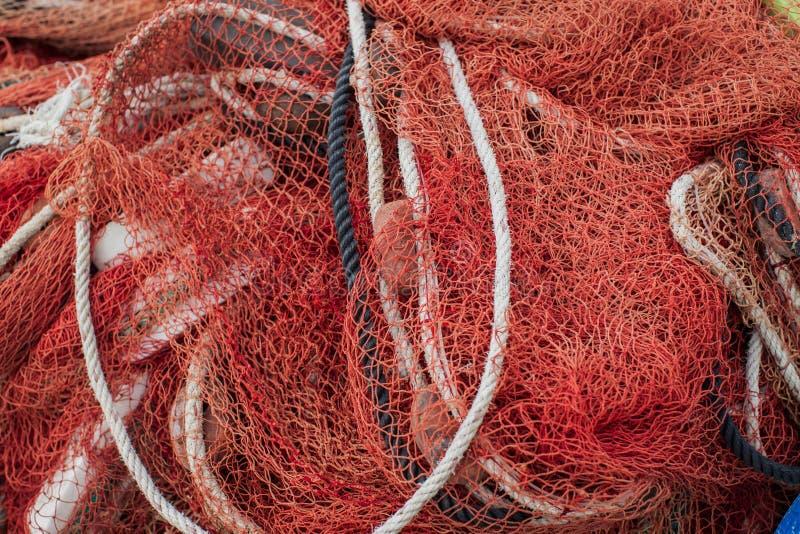 Övre sikt för slut av fisknätflottabakgrund arkivfoton