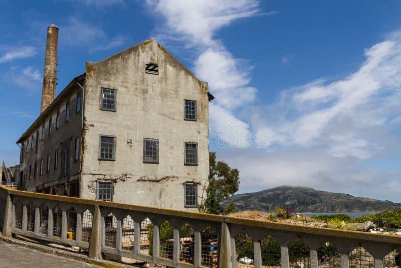 Övre sikt för slut av makthuset på den Alcatraz ön royaltyfri bild