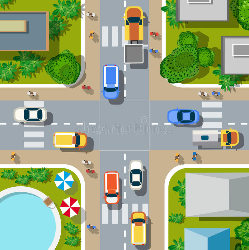 övre sikt för stad vektor illustrationer