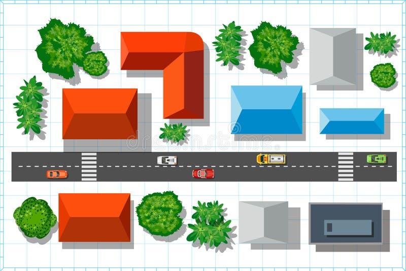 övre sikt för stad stock illustrationer
