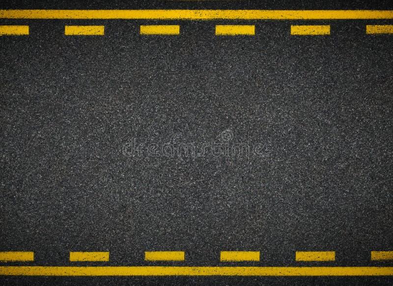 Övre sikt för väg Gul linje fläckar för asfalthuvudväg fotografering för bildbyråer
