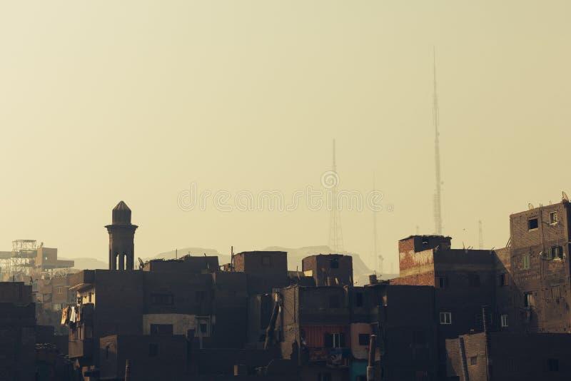 Övregolven av slumkvarteren i Kairo royaltyfria foton