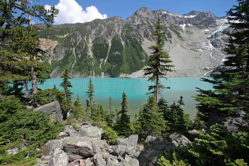 ?vreJoffre Lake i Joffre Lakes Provincial Park, Kanada arkivbilder