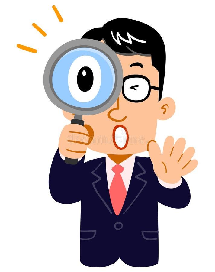 Övrekroppen av en affärsman som förvånas på att kika ett förstoringsglas, bärande exponeringsglas, lärare stock illustrationer