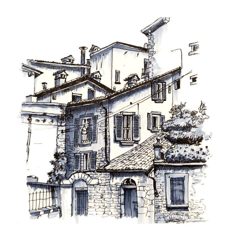 Övrestad Citta alta, Bergamo, Lombardy, Italien royaltyfri illustrationer