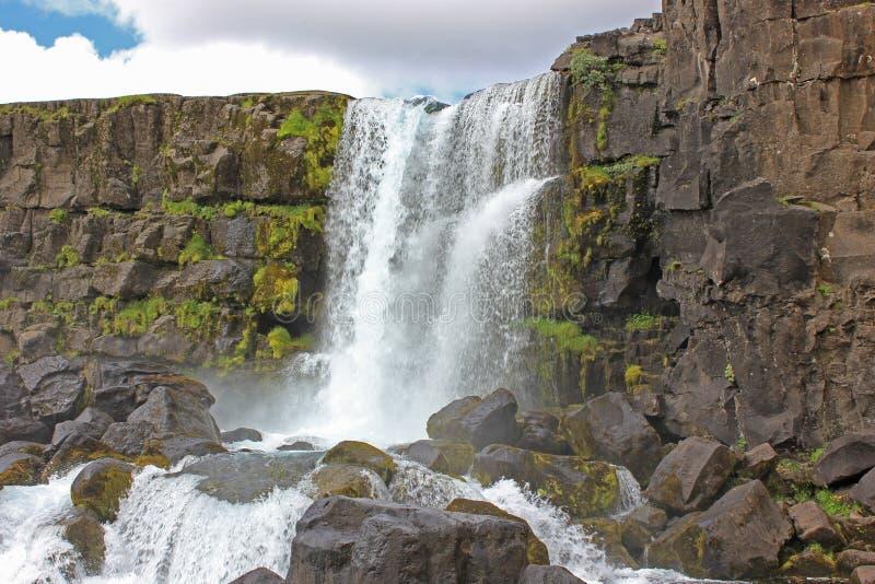 Öxarárfoss waterfall in the thingvellir national park. Öxarárfoss waterfall  n the thingvellir national park stock images