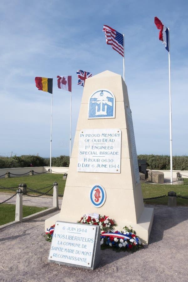 ø coordenador Special Brigade Monument, praia de Utá, Normandy, França imagem de stock royalty free