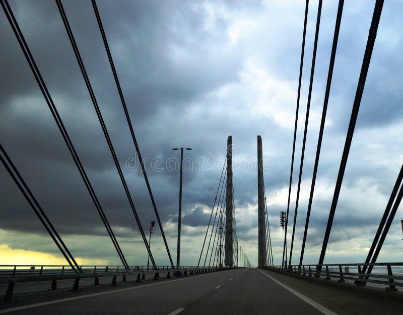 The Øresund Bridge on a Stormy Day. The Øresund or Öresund Bridge Danish: Øresundsbroen, Swedish: Öresundsbron, hybrid name: Øresundsbron is royalty free stock photos