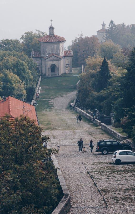 última capela no santuário santamente da maneira do Sacro Monte de Varese ITÁLIA fotos de stock royalty free