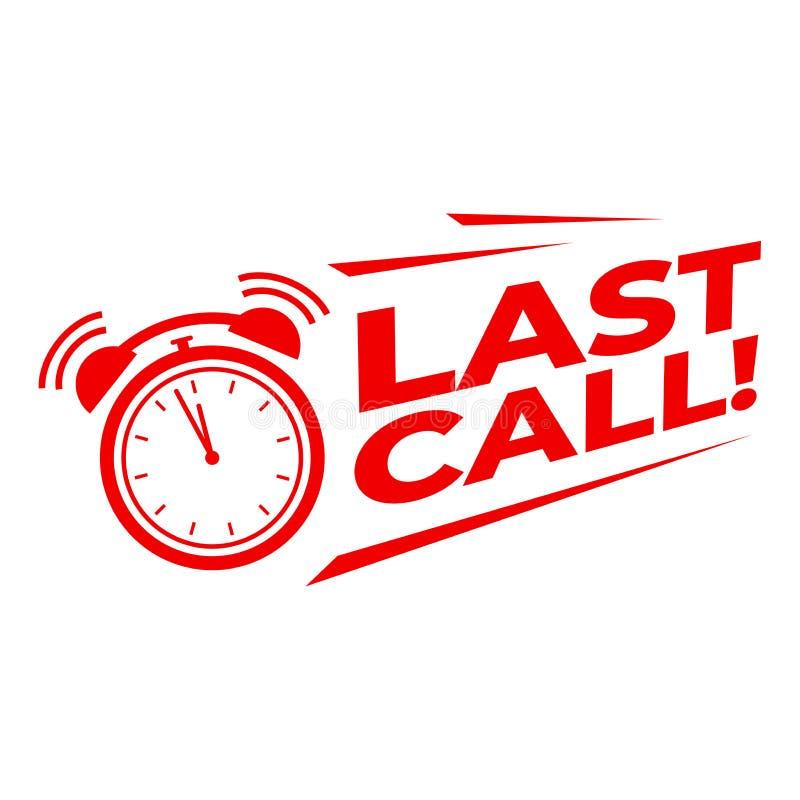 Última llamada con el despertador, cuenta descendiente de la campaña de promoción de venta ilustración del vector